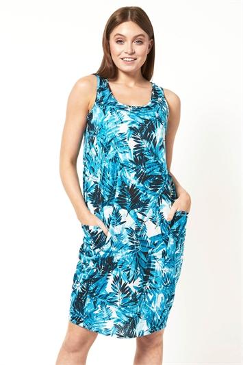 Leaf Print Pocket Cocoon Dress