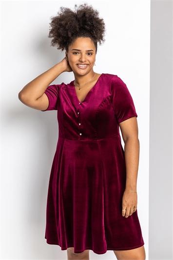 Wine Curve Diamante Button Velvet Dress