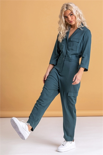 Petrol Utility Jumpsuit with Pockets