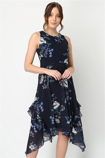 Floral Hanky Hem Ruffle Midi Dress