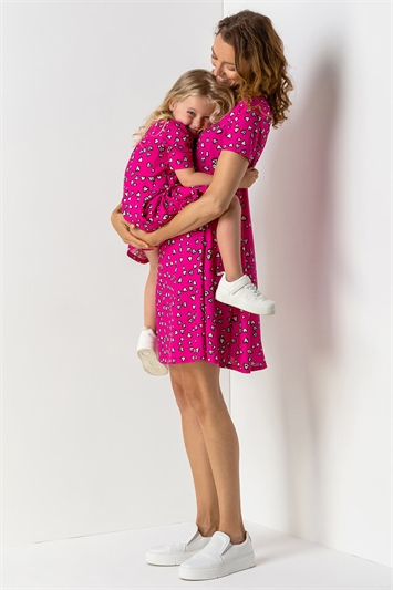 Pink Heart Print Stretch Swing Dress