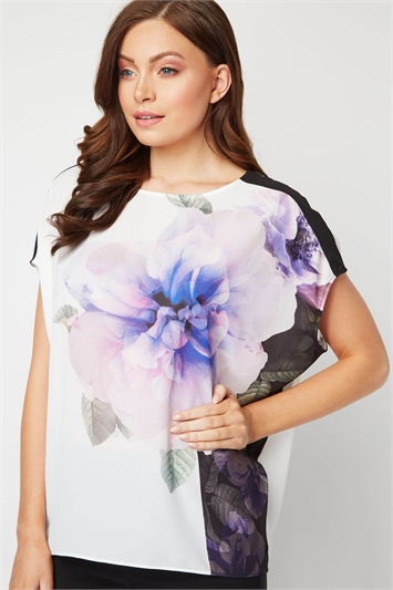 Floral Contrast Overlay Top