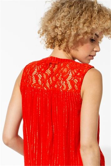 Red Metallic Lace Sleeveless Blouse