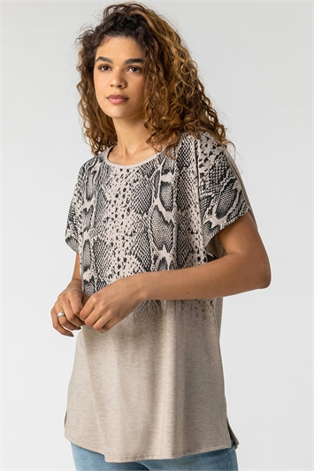 Snake Print Ombre Top