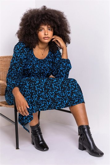 Royal Blue Curve Abstract Animal Print Midi Dress