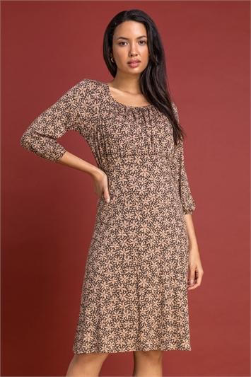 Camel Square Neck Floral Print Dress