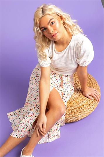 Multi Scattered Spot Print Belted Skirt