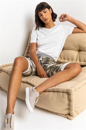 Pale Green Camo Print Jersey Shorts