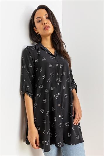 Black Heart Print Tunic Blouse