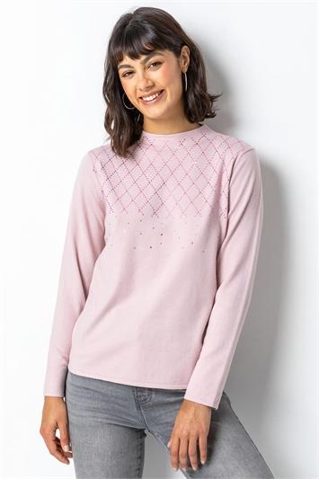 Pink Diamante Embellished Highneck Jumper