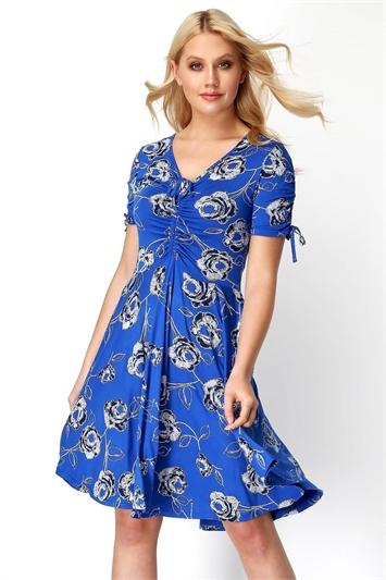 Royal Blue Rose Print Tea Dress