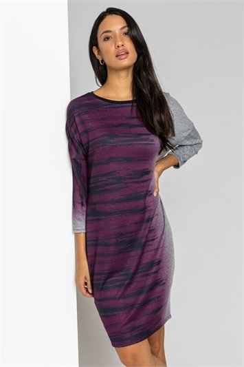 Purple Ombre Animal Print Slouch Dress, Image 1 of 5