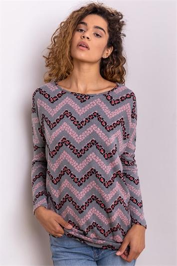 Pink Zig Zag Animal Print Sweater Top, Image 1 of 4