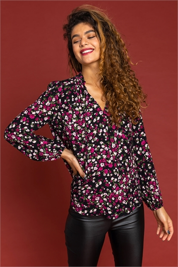 Purple Ditsy Floral Tie Neck Blouse, Image 1 of 5