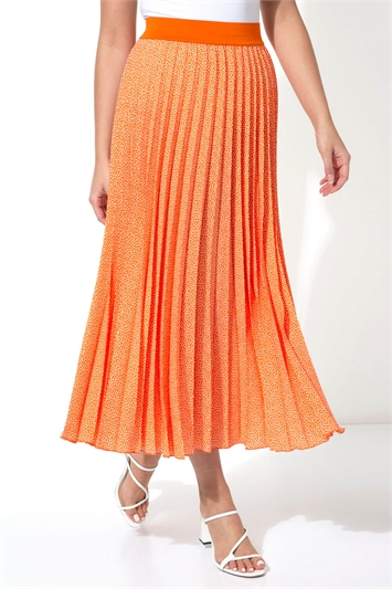 Spot Print Pleated Midi Skirt