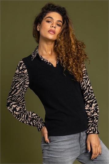 Neutral Animal Print Sweater Vest Top