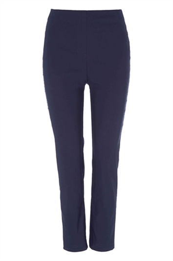 Navy Full Length Stretch Trousers