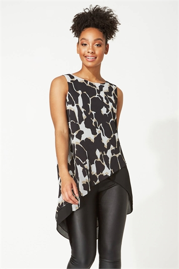 Animal Print Sleeveless Tunic Top