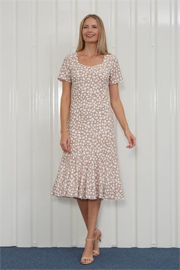 Mocha Julianna Spot Print Chiffon Dress