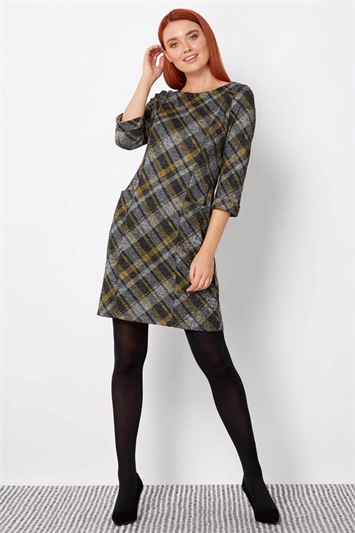 Check Print 3/4 Sleeve Shift Dress
