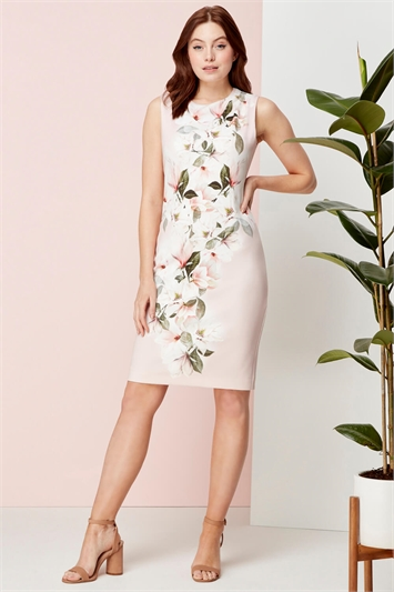 Light-Pink Fitted Floral Print Scuba Dress
