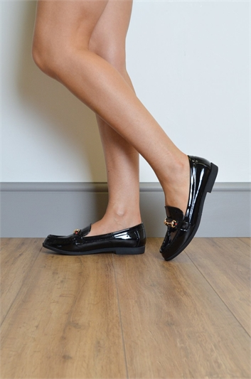 Patent Buckle Detail Loafers