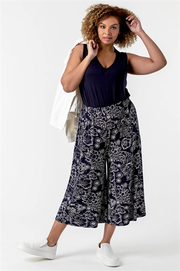 Multi Curve Floral Print Culotte Trousers