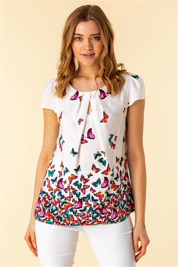 Keyhole Detail Butterfly Print Top