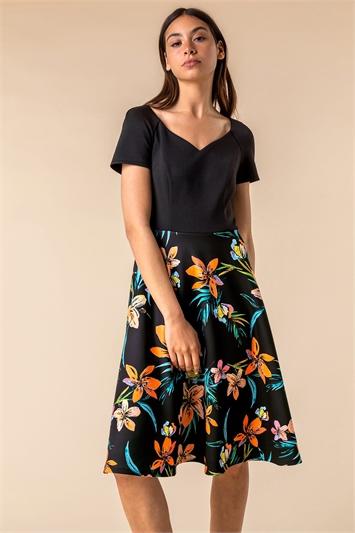 Black Tropical Print Fit & Flare Dress