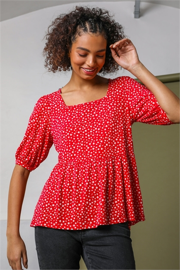 Red Ditsy Floral Peplum Jersey Top, Image 1 of 5