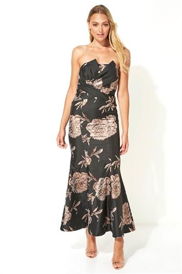 Floral Jacquard Fishtail Maxi Dress
