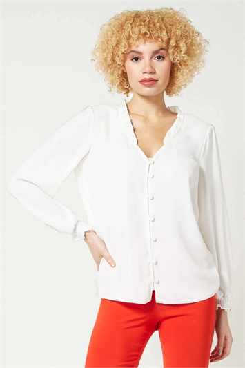 Frill Detail Button Through Blouse