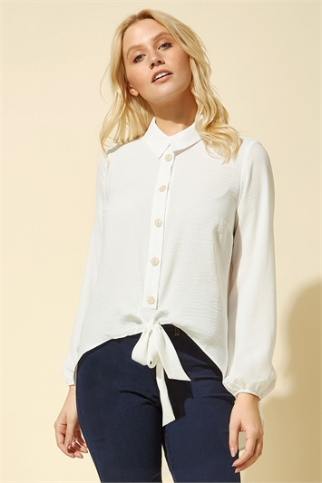 Tie Front Button Blouse