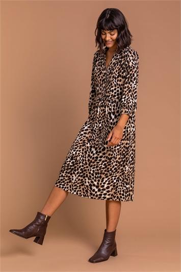 Camel Animal Print Midi Shirt Dress