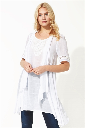 Lace Trim Crinkle Tunic Top