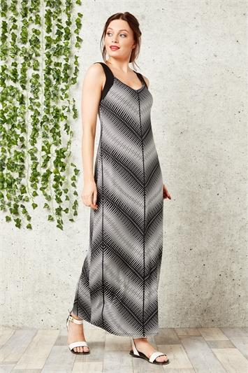 Monochrome Chevron Maxi Dress