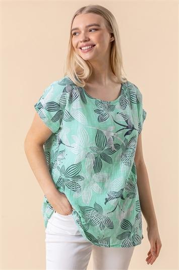 Floral Print Cap Sleeve Top