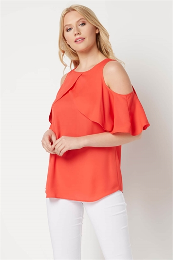 Frill Sleeve Cold Shoulder Top