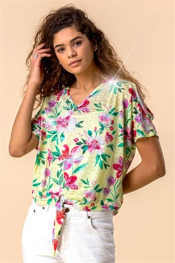 Hotfix Tropical Print Tie Front Top