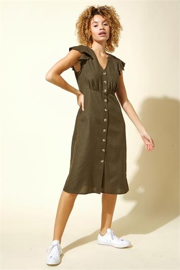 Button Down Frill Sleeve Midi Dress