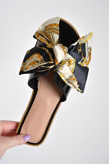 Black Scarf Print Bow Slider Sandals
