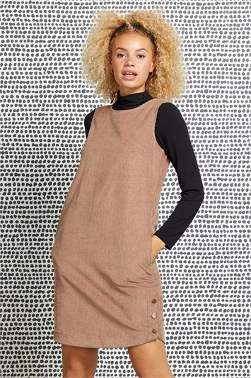 Corduroy Button Pinafore Dress