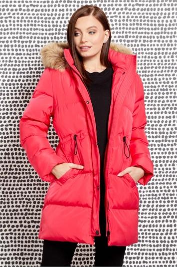 Fuschia Longline Padded Coat