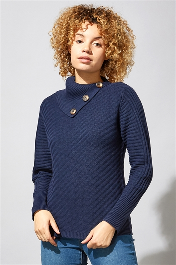 Textured Knit Button Detail Jumper