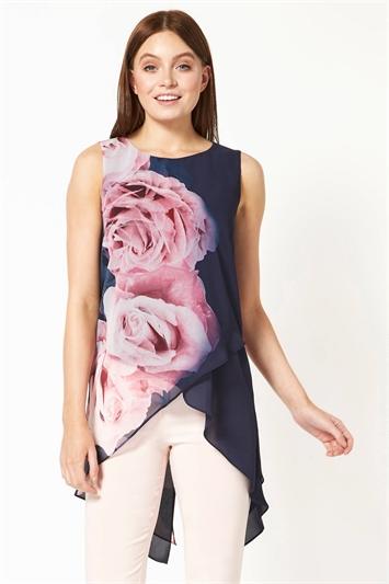 Rose Floral Print Asymmetric Top