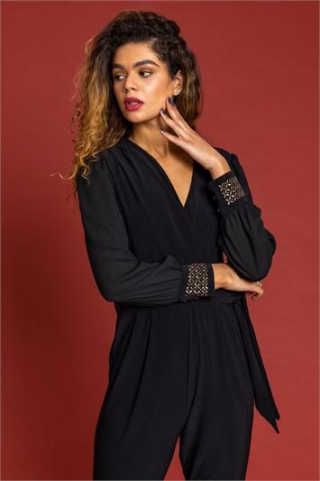 Black Sparkle Embellished Cuff Wrap Jumpsuit