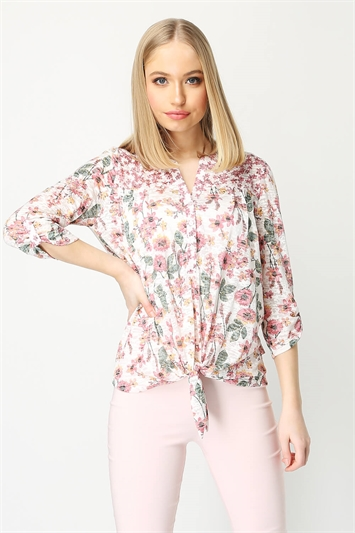 Mixed Ditsy Floral Print Tie Front Top