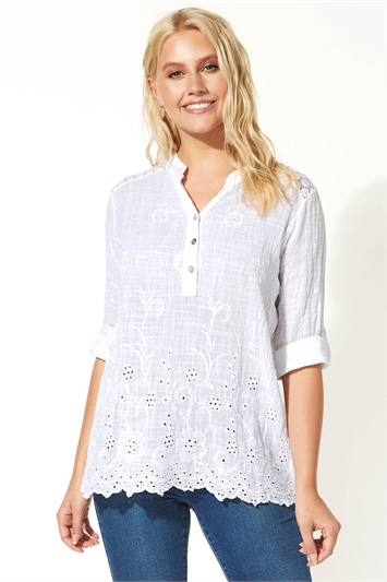Crochet Embroidered Button Detail Top