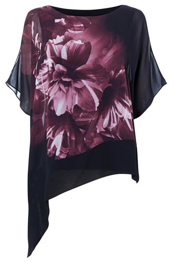 Floral Print Asymmetric Overlay Top