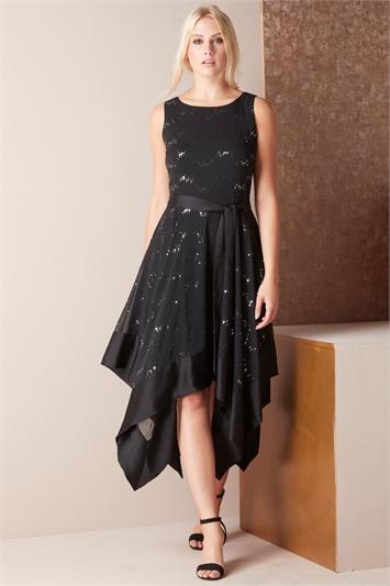 Glitter Hanky Hem Dress